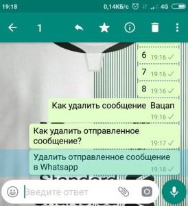 Удаление сообщений из whatsapp